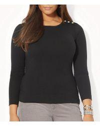 Lauren by Ralph Lauren - Plus Buttoned-shoulder Top - Lyst