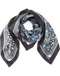 Echo Gemstone Paisley Silk Square Scarf - Blue