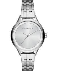 Armani Exchange - Women's Silver Sunray Dial Watch - Lyst
