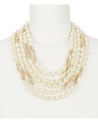 Belle By Badgley Mischka - St. Tropez Faux Pearl Statement Necklace - Lyst