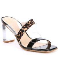 f685d4e3c Guess - Kicie Asymmetrical Clear Lucite Heel Leopard Calf Hair Slides - Lyst