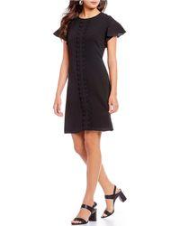 Isaac Mizrahi New York - Flutter Sleeve Ruffle Front Dress - Lyst