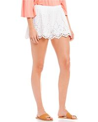 Chelsea & Violet Embroidered Eyelet Lace Short - White