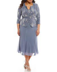 Alex Evenings - Plus Mock T-length Sequin Jacket Dress - Lyst