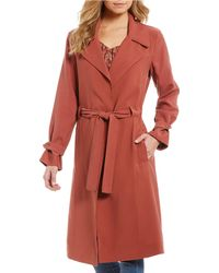 1.STATE Twill Belted Trench Jacket - Red
