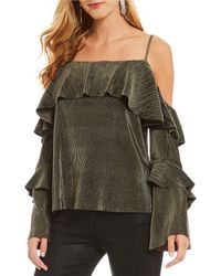 Sugarlips - Tiered Cold Shoulder Cord Ruffle Sleeve Blouse - Lyst