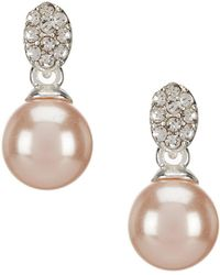 Anne Klein - Pink Pearl Pave Drop Earrings - Lyst