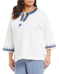 Ruby Rd. - Plus Size Embroidered Tassel Tie-neck Solid Stretch French Terry Top - Lyst