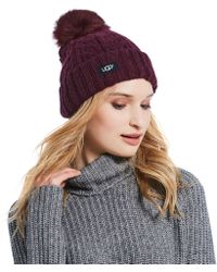 Lyst - UGG Cable Knit Pom Hat in White cd7301176
