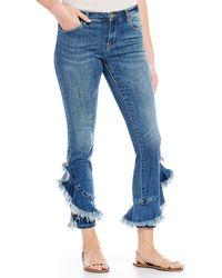 Chelsea & Violet - Frayed Hem Ruffle Skinny Ankle Jean - Lyst