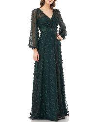Carmen Marc Valvo V-neck Long Sheer Pouf Sleeve 3-d Novelty Petal Detail Gown - Green