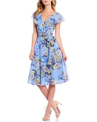 Eliza J Floral Print Ruffle Split Shoulder A-line Midi Dress - Blue