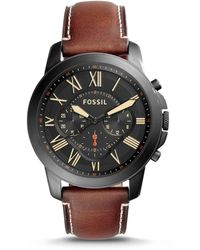 Fossil - Grant Chronograph Luggage Leather Watch - Lyst