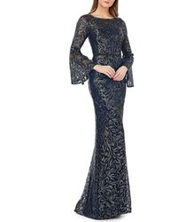Carmen Marc Valvo Infusion Sequined Lace Illusion Bell Sleeve Gown - Blue