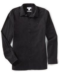 Calvin Klein - Solid Cotton Cashmere Long-sleeve Woven Shirt - Lyst
