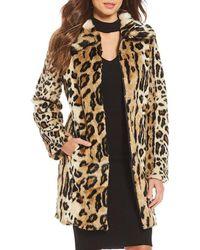 Gianni Bini Leopard Faux Fur Coat - Natural