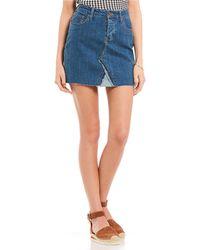 Celebrity Pink - Denim Raw Edge Mini Skirt - Lyst