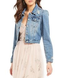 Chelsea & Violet Puff Sleeve Distressed Denim Jacket - Blue