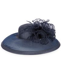 August Accessories Sheer Wide Brim Dress Hat - Blue