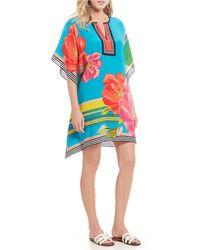 c6c5daa4cf5 Trina Turk - Theodora Crepe De Chine Striped Floral Print Kaftan Dress -  Lyst