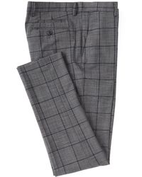 Murano Black Label Evan Extra-slim Fit Windowpane Dress Pants - Gray