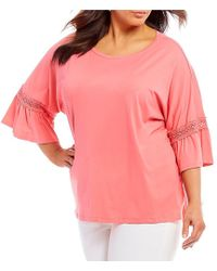 Ruby Rd. - Plus Size Flounce Bell Sleeves Solid Lace Inset Knit Top - Lyst