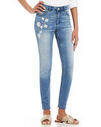 Jones New York - Lexington Celeste Wash Stretch Denim Embroidered Skinny Ankle Jeans - Lyst