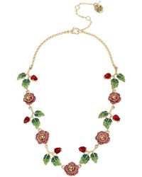 Betsey Johnson - Rose & Stone Collar Necklace - Lyst