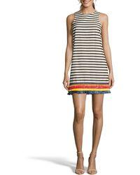Nicole Miller - Stripe Raffia Trim Shift Dress - Lyst