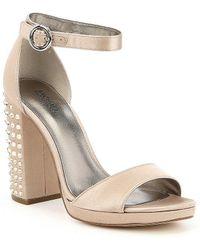 MICHAEL Michael Kors - Erika Rhinestone Studded Block Heel Satin Dress Sandals - Lyst
