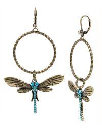 Betsey Johnson Pavé Dragonfly Hoop Earrings - Metallic