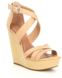 Gianni Bini Jossilee Leather Banded Wedges - Natural