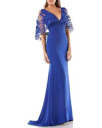 Carmen Marc Valvo - Sequin Embroidered Capelet Gown - Lyst