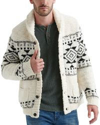 Lucky Brand - Long-sleeve Sherpa Lined Sawtooth Shawl Cardigan Sweater - Lyst