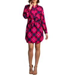 Trina Turk Tie Floral Printed Tie Front Shirt Dress - Multicolour