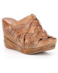 Bed Stu - Gina Ii Woven Leather Wood Wedges - Lyst