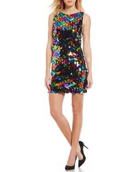 96a38bc000ed Lyst - Vera Wang Gold Paillette & Sequin Shift Dress in Metallic
