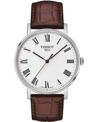 Tissot - Everytime Men's Brown Leather Strap Watch - Lyst