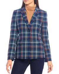 Cremieux Natalie Novelty Plaid Print Single Breasted Blazer - Blue