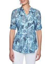 Ruby Rd. - Roll-tab Elbow Sleeve Hibiscus Tie Dye Print Gauze Top - Lyst