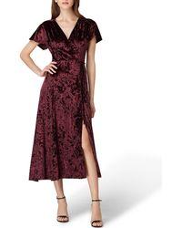 Tahari - Panne Velvet Faux Wrap Dress - Lyst