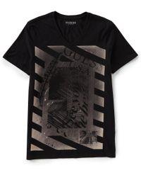 Guess - Short-sleeve Nautical V-neck Logo T-shirt - Lyst