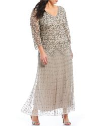1df5c7e861a Pisarro Nights Plus Size Embellished Lace Gown in Metallic - Lyst