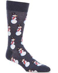 Hot Sox Novelty Snowmen Crew Socks - Blue