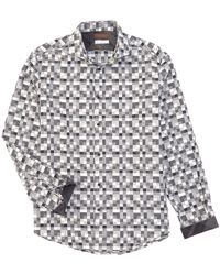 Thomas Dean - Digital Pattern Long-sleeve Woven Shirt - Lyst
