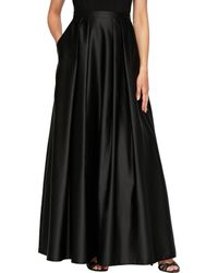 Alex Evenings Petite Size Satin Inverted Pleat Ballgown Skirt - Black