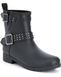HUNTER - Boots Refined Ankle Stud Biker Rain Boot - Lyst