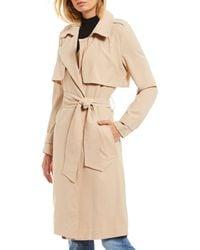 Gianni Bini Ceila Drapey Self-sash Long Sleeve Trench Coat - Natural