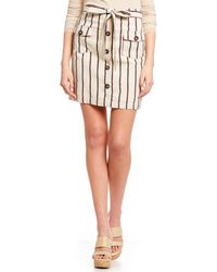 Blu Pepper - Stripe Paperbag Waist Button Front Skirt - Lyst