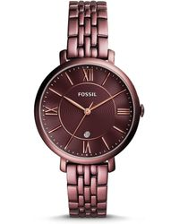 Fossil - Jacqueline Three-hand Date Wine Stainless Steel Watch - Lyst